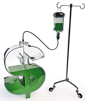 Intravenous drip for dollar