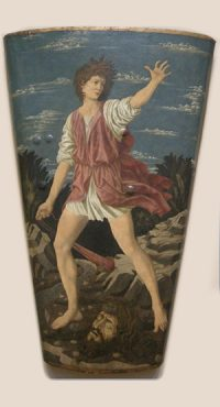 Andrea del Castagno. David vainqueur de Goliath, tempera sur toile – 115,5 cm (h) ; 76,5 cm (l) v. 1450-1455, Washington National Gallery of Art